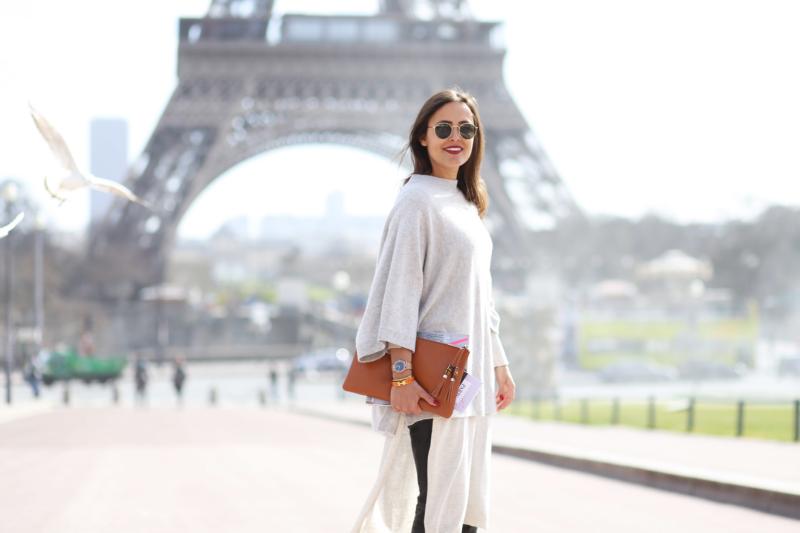 Eifelturm, weißes Kleid, Tasche, Sonnenbrille